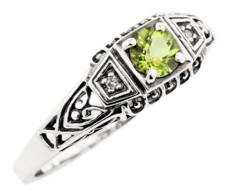 Antique Style Sterling Silver Filigree .30ct Peridot & Diamond Ring