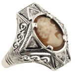 Art Deco Style Sterling Silver Filigree Cameo and Trillion CZ Ring