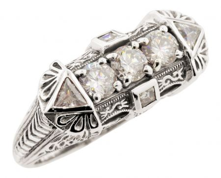 Art Deco Style 1.00cttw White Topaz Ring in Sterling Silver