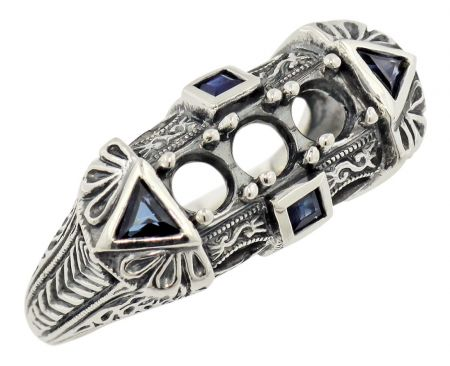 Art Deco Style 3.5mm Ring Setting w/ Trillion Sapphires in Sterling Silver