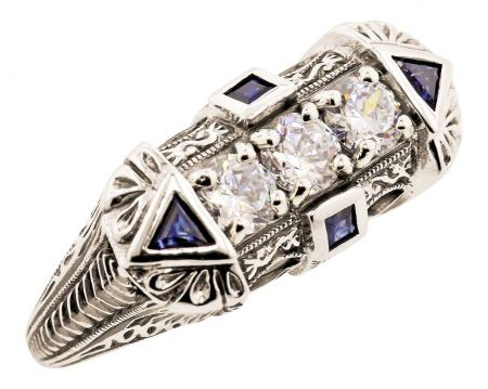 Art Deco Style 1.00cttw Cubic Zirconia and Sapphire Ring in Sterling Silver