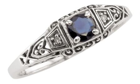 Antique Style Sterling Silver Filigree .35ct Sapphire & Diamond Ring