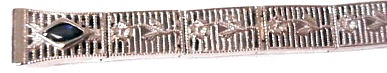 Sterling Art Deco Style Filigree Link w/ Sapphire Watch Band