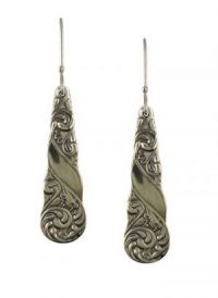 Antique Style Gloria Scroll Pattern Spoon Drop Earrings