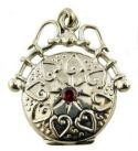 Victorian Style Sterling Silver Round Fob Locket Necklace