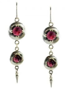 Antique Style Double Rose Cut 6.00cttw Garnet Dangle Earrings in Sterling Silver