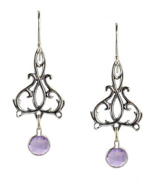 Sterling Silver Art Nouveau Style Filigree Scroll Earrings with Amethysts