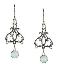 Sterling Silver Art Nouveau Style Filigree Scroll Earrings with Topaz