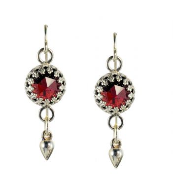 Sterling Silver Rose Cut 4.0cttw Garnet Crown Bezel Dangle Earrings
