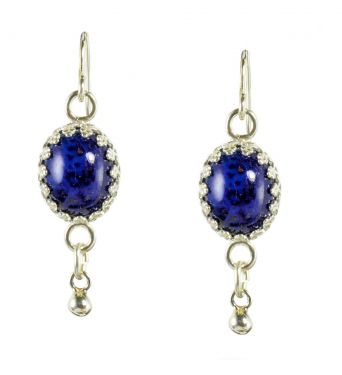 Antique Style Sterling Silver Czech Lapis Glass Oval Earrings w/ Ball Dangle