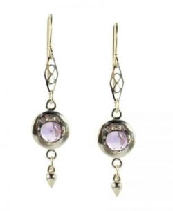 Antique Style Sterling Silver Rose Cut Amethyst Earrings with Cone Dangle