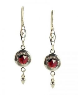 Antique Style Rose Cut 2.0cttw Garnet Earrings with Cone Dangle in Sterling Silver