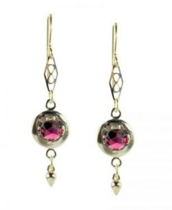 Antique Style Sterling Silver Rose Cut 2.0cttw Rhodolite Garnet Earrings with Cone Dangle