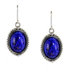 Antique Style Sterling Silver Czech Lapis Glass Rope Framed Earrings