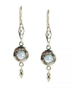 Antique Style Sterling Silver Rose Cut Blue Topaz Earrings with Cone Dangle