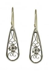 Floral Filigree Tear Drop Dangle Earrings in Sterling Silver