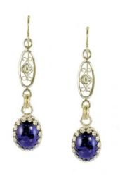 Antique Style Filigree Czech Lapis Glass Earrings in Sterling Silver