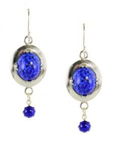 Antique Style Czech Lapis Glass Oval Framed Earrings w/ Dangle in Sterling Silver