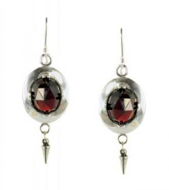 Antique Style Rose Cut 5.5cttw Garnet Oval Frame Earrings with Cone Dangle