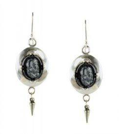 Czech Glass Warrior Cameo Oval Framed Earrings with Cone Dangle in Sterling Silver