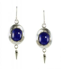 Antique Style Czech Lapis Glass Oval Framed Earrings w/ Cone Dangle in Sterling Silver