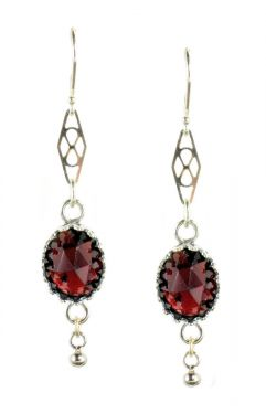 Antique Style Oval Rose Cut 5.5cttw Garnet Crown Bezel Earrings in Sterling Silver