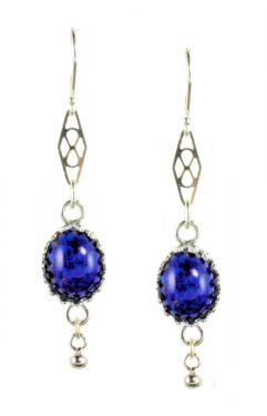 Antique Style Oval Czech Lapis Glass Crown Bezel Earrings in Sterling Silver