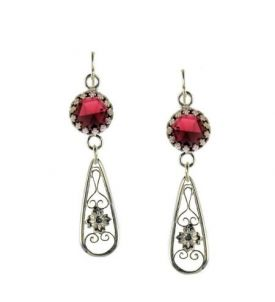Antique Style Rose Cut Garnet Floral Filigree Drop Earrings in Sterling Silver