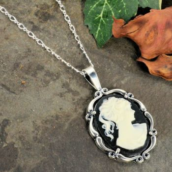 Sterling Silver Vintage Style Resin Cameo Pendant with Chain