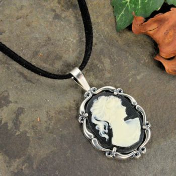 Sterling Silver Vintage Style Resin Cameo Pendant with Suede Cord