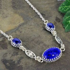Sterling Silver Vintage Czech Lapis Glass and Filigree Necklace with Crown Bezel