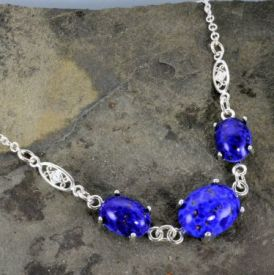 Vintage Czech Lapis Glass Filigree Necklace in Sterling Silver