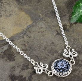 Etched Jet Glass Intaglio Necklace with Crown Bezel in Sterling Silver