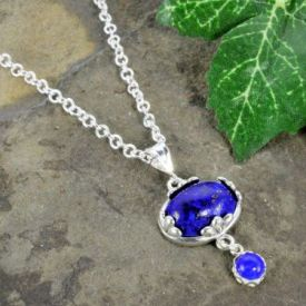 Czech Lapis Glass Fleur de Lis Pendant with Dangle in Sterling Silver