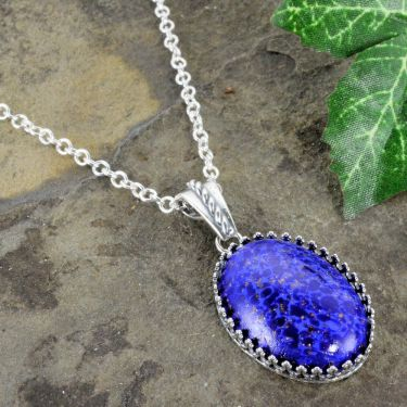 Czech Lapis Glass Pendant with Crown Bezel on Chain in Sterling Silver