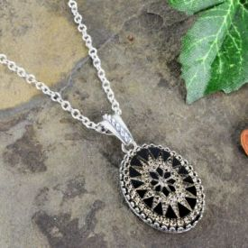Etched Jet Intaglio Pendant with Crown Bezel on Chain in Sterling Silver