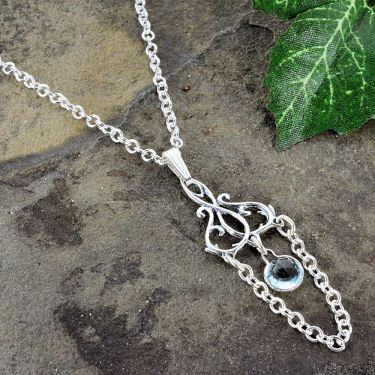 Art Nouveau Style Swag Lavalier Pendant - Sterling Silver with Blue Topaz