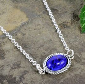 Sterling Silver Vintage Czech Lapis Glass Necklace with Rope Bezel