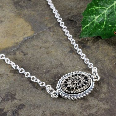 Sterling Silver Engraved Victorian Jet Glass Intaglio Necklace with Rope Bezel