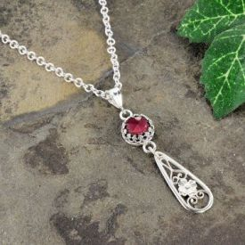 Antique Style Rose Cut 2.00ct Garnet Lavalier Pendant with Floral Drop in Sterling Silver