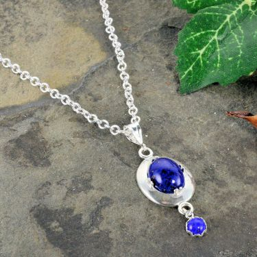 Antique Style Czech Lapis Glass Oval Famed Pendant with Dangle in Sterling Silver