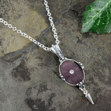 Purple Sunray Crystal Fleur de Lis Pendant with Cone Dangle in Sterling Silver