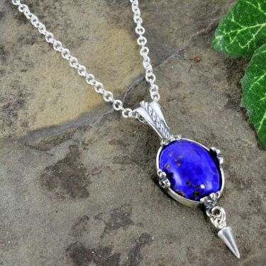 Czech Lapis Glass Fleur de Lis Pendant with Cone Dangle in Sterling Silver