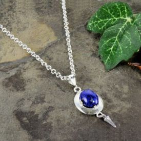 Czech Lapis Glass Oval Framed Pendant with Cone Dangle in Sterling Silver