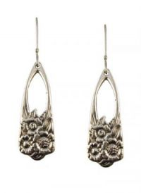 Antique Style June Flower Pattern Spoon Drop Earrings