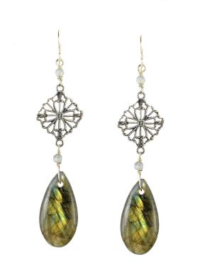 Filigree Labradorite Drop Earrings in Sterling Silver