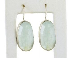 Rose Cut Aquamarine Free Form Earrings in Sterling Silver