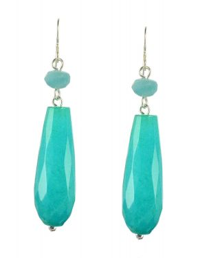 Vintage Style Teal Jade and Chalcedony Drop Earrings in Sterling Silver
