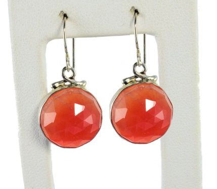 Rose Cut Carnelian Luna Earrings in Sterling Silver