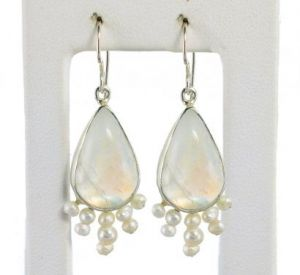 Luminous Rainbow Moonstone and Pearl Earrings in Sterling Silver